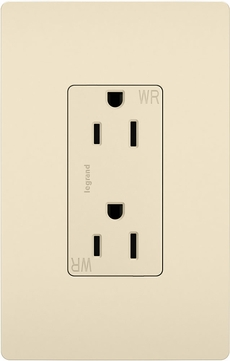 Legrand Radiant 885TRWRLA Modern Light Almond 15A Decorator Tamper-Resistant Weather-Resistant Outlet Receptacle