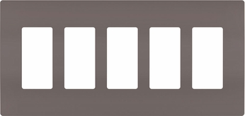 Legrand Radiant RWP265 Contemporary Brown 5-Gang Screwless Wall Plate