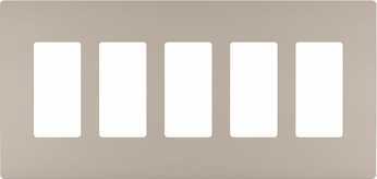 Legrand Radiant RWP265NI Contemporary Nickel 5-Gang Screwless Wall Plate