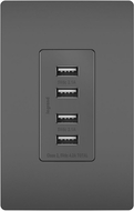 Legrand Radiant TM8USB4BKCC6 Contemporary Black Quad USB 2.0 / 3.0 Charging Outlet