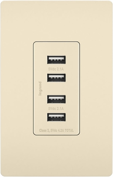 Legrand Radiant TM8USB4LACC6 Contemporary Light Almond Quad USB 2.0 / 3.0 Charging Outlet