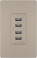 Legrand Radiant TM8USB4NICC6 Modern Nickel Quad USB 2.0 / 3.0 Charging Outlet