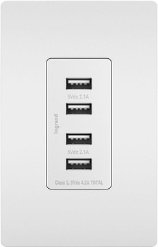 Legrand Radiant TM8USB4WCC6 Contemporary White Quad USB 2.0 / 3.0 Charging Outlet