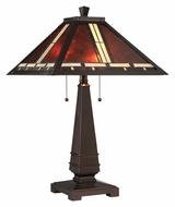 Lite Source C41267 Crimson 24 Inch Tall Dark Bronze Tiffany Mica Table Top Lamp