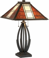 Lite Source C41383 Halden Tiffany Dark Bronze / Mica Fluorescent Table Lamp