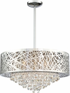 Lite Source EL-10105 Benedetta Modern Chrome Halogen Drum Pendant Lighting Fixture