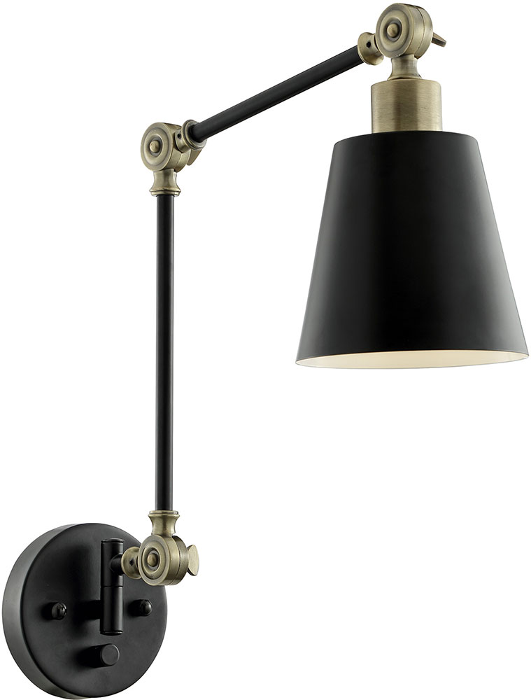 Lite Source Ls 16146blk Ab Norco Contemporary Black Antique Br Wall Swing Arm Loading Zoom