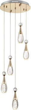 Lite Source LS-18757 Glain Modern Champagne Gold LED Multi Drop Lighting Fixture