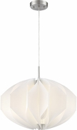 Lite Source LS-19311BN-WHT Reina Contemporary Brushed Nickel Pendant Lighting Fixture