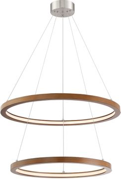 Lite Source LS-19696WAL-BN Rimmy Contemporary Walnut LED Multi Hanging Pendant Light