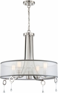 Lite Source LS-19733 Polished Steel Halogen Drum Ceiling Pendant Light