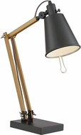 Lite Source LS-22828 Pisces Black/Walnut Fluorescent Table Lamp Lighting