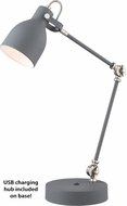 Lite Source LS-23046GREY Kalle Modern Grey Task Lamp w/ USB Charging Port