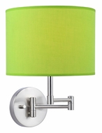 Lite Source LS16515L/GRN Kaden Swing Arm Polished Steel Light Green Wall Lamp