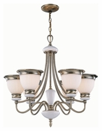 Lite Source LS18426ABFRO Carter 25 Inch Diameter Transitional 48 Inch Tall 6 Light Hanging Chandelier