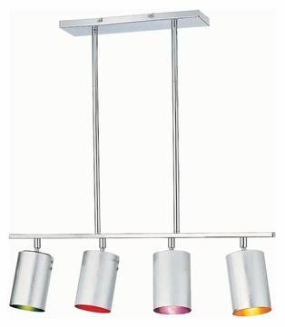 Lite Source LS19744C/MULTI Cans 30 Inch Wide Chrome Finish Multicolored Island Lighting Fixture
