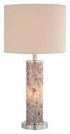 Lite Source LS21772 Schale II Polished Steel Finish 29 Inch Tall Mosaic Column Table Light