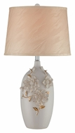 Lite Source LS21906 Florissa Ivory Ceramic Flower Table Lamp With Faux Silk Fabric Shade - 26 Inches Tall