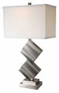 Lite Source LS21929PSWHT Dewayne Polished Steel Finish 27 Inch Tall Contemporary Table Lighting - White Linen Shade