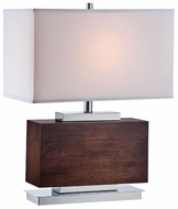 Lite Source LS22069 Firmino Short Wooden Table Lamp with Chrome Base
