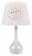 Lite Source LS22113WHT Siani White 22 Inch Tall Modern Ceramic Lamp With Off-White Fabric Shade