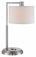Lite Source LS22120PSWHT Eliza 24 Inch Tall Chrome Finish Base Outlet Table Lamp Lighting