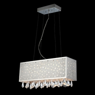 Lite Source LSEL-10093 Santuzza Rectangular Lurex Star Inset 24 Inch Wide Island Lighting With Drop Crystals