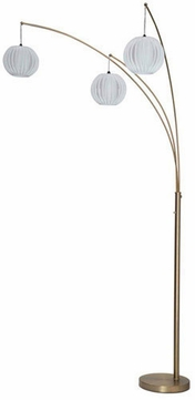 Lite Source LSF-8871GOLDWH Deion Contemporary Brushed Gold LED Floor Lamp Light