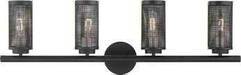 Livex 14124-04 Industro Contemporary Black with Brushed Nickel Accents 4-Light Vanity Lighting