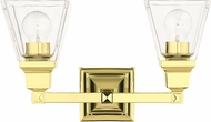 Livex 17172-02 Mission Polished Brass 2-Light Bathroom Lighting Fixture