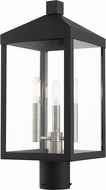 Livex 20592-04 Nyack Black with Brushed Nickel Cluster Outdoor Post Light Fixture