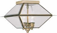 Livex 2185-01 Westover Antique Brass Outdoor Flush Mount Light Fixture