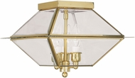 Livex 2185-02 Westover Polished Brass Exterior Flush Mount Lighting Fixture