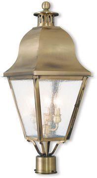 Livex 2556-01 Amwell Traditional Antique Brass Post Light