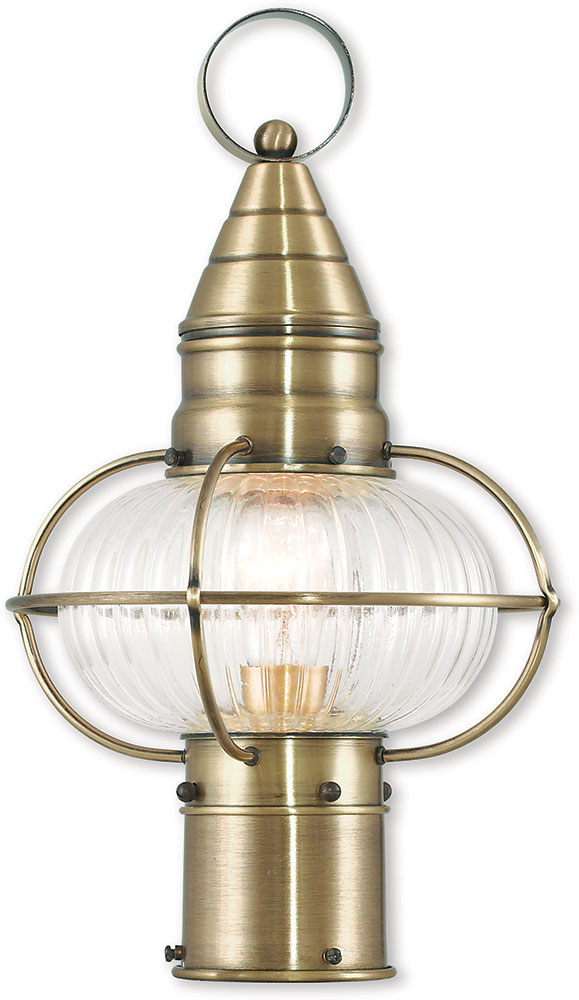 Livex 27002 01 Newburyport Nautical Antique Brass Outdoor Post Lighting