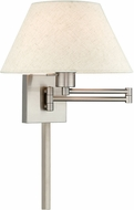 Livex 40038-91 Brushed Nickel Swing Arm Wall Lamp