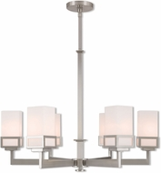 Livex 40196-91 Harding Contemporary Brushed Nickel 29 Ceiling Chandelier