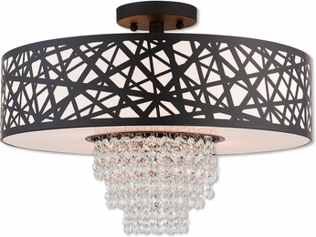 Livex 40664-07 Allendale Bronze 18  Flush Ceiling Light Fixture