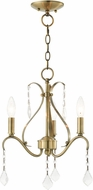 Livex 40843-01 Caterina Traditional Antique Brass with Clear Crystals Mini Chandelier Light