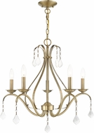 Livex 40845-01 Caterina Traditional Antique Brass with Clear Crystals Lighting Chandelier