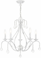 Livex 40845-60 Caterina Traditional Antique White with Clear Crystals Chandelier Lamp