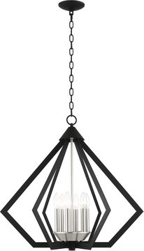 Livex 40926-04 Prism Modern Black with Brushed Nickel Cluster Entryway Light Fixture