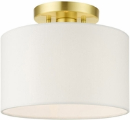 Livex 41095-12 Meridian Contemporary Satin Brass 10  Overhead Light Fixture