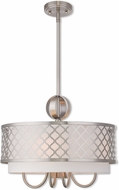 Livex 41104-91 Arabesque Brushed Nickel 18  Drum Pendant Light Fixture
