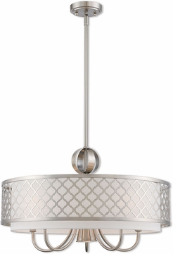 Livex 41105-91 Arabesque Brushed Nickel 24  Drum Hanging Pendant Lighting