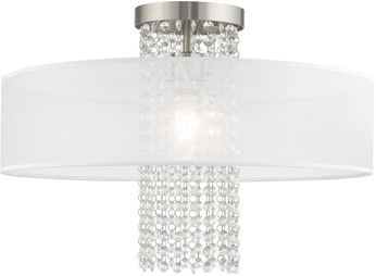 Livex 41127-91 Bella Vista Brushed Nickel 20  Flush Mount Lighting Fixture