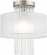 Livex 41144-91 Alexis Brushed Nickel 11  Flush Ceiling Light Fixture