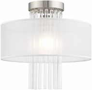 Livex 41145-91 Alexis Brushed Nickel 13  Flush Mount Ceiling Light Fixture