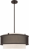 Livex 41205-07 Braddock Modern Bronze 20  Drum Ceiling Light Pendant