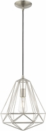 Livex 41324-91 Geometric Shade Contemporary Brushed Nickel Mini Ceiling Light Pendant